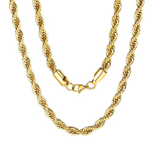 ChainsPro 3/6 MM Cadena SOGA, Braided Twist Rope Chain, Collar Trenzado Acero Inoxidable Plateado/Dorado/Negro, Joyería de Moda Hip Hop para Hombre y Mujer, 46-76CM Largo (Ofrecer Servicio Grabado)