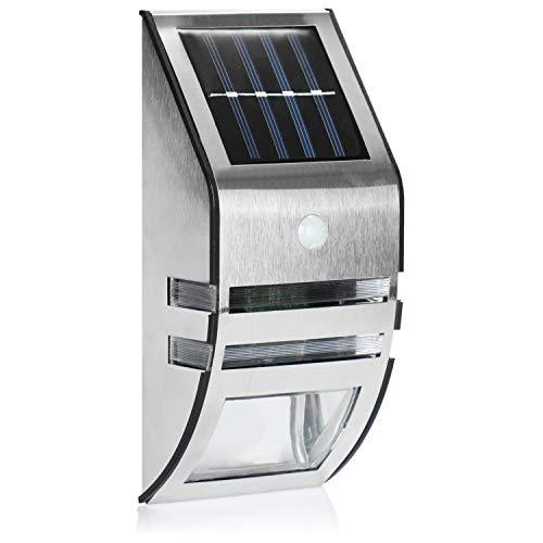 com-four Lámpara Solar de Exterior LED - luz Solar para Exterior de Acero Inoxidable - luz de Exterior con Interruptor, crepuscular y Sensor de Movimiento (Sensor crepuscular)