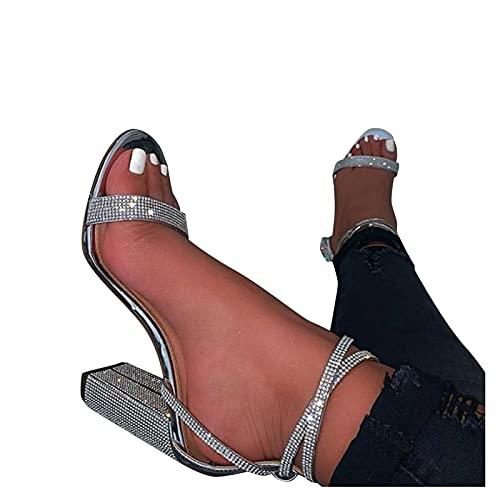 BIBOKAOKE Sandalias de mujer de tacón alto, con correa en el tobillo,...