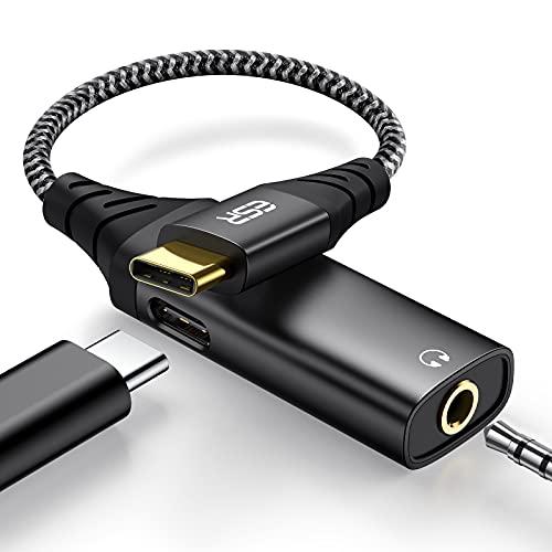 ESR verbesserter 2-in-1 USB C Kopfhörer Adapter Nylonkabel mit Ladebuchse, Schnellladen Unterstützt, Typ-C auf 3.5 mm Audio Adapter für Aux, Kompatibel mit Galaxy S21/S20/S10/A52, iPad Pro 2021/2020