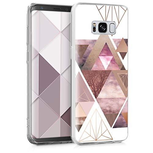 kwmobile Hülle kompatibel mit Samsung Galaxy S8 - Hülle Handy - Handyhülle Glory Dreieck Muster Rosa Rosegold Weiß