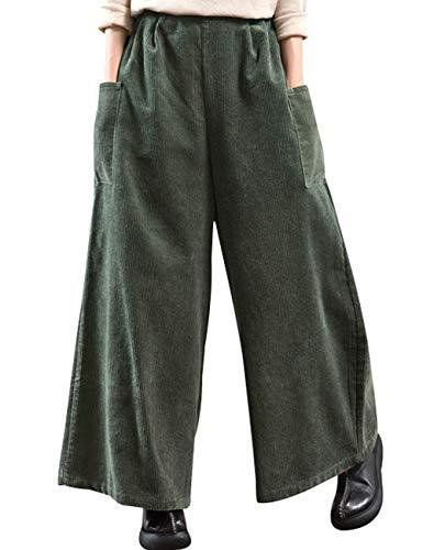 Youlee Donna Inverno Vita Elastica Corduroy Pantaloni Pantaloni a Gamba Larga Style 1 Dark Green