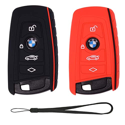 Velsman Compatible with BMW Trapezoid Style Key FOB Silicone Case Cover Protector Holder -3 Buttons and Wrist Strap - Please Double Check Your Key Configuration and Shape (Black and Red)