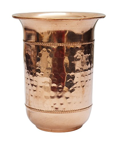 Tasse en verre martelé fait à la main 100 % cuivre pur 250 ml