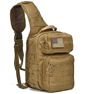 DIGBUG GEAR Tactical Sling Bag Pack Military Rover Shoulder Sling Backpack Molle Assault Range Bag Everyday Carry Diaper Bag Day Pack Tan Small
