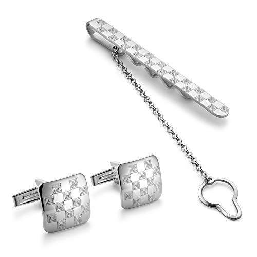 STERLL Herren Manschettenknöpfe und Krawattenspange Sterling-Silber 925 Schmucketui Geschenk für den Chef