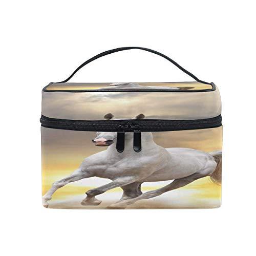 Bolsa de maquillaje, diseño de caballo con estampado de animales, bolsa de viaje portátil, gran impresión, bolsa de cosméticos, compartimentos para niñas, mujeres y señoras