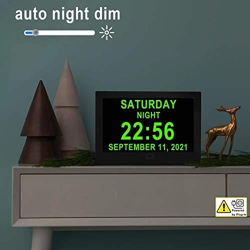 Digital Alarm Wall Bedroom Clocks Calendar, 16 Alarms, 5 Custom Alarms for Memory Loss Elderly Seniors Dementia Sufferers Alzheimers Vision Impaired Kids