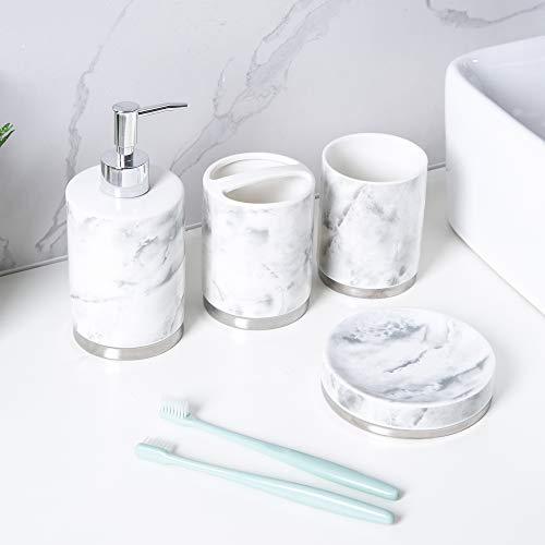 Schwänlein - Set di 4 accessori da bagno in ceramica con dispenser per sapone liquido, porta dentifricio, portasapone e bicchiere per spazzolino da denti, colore: argento