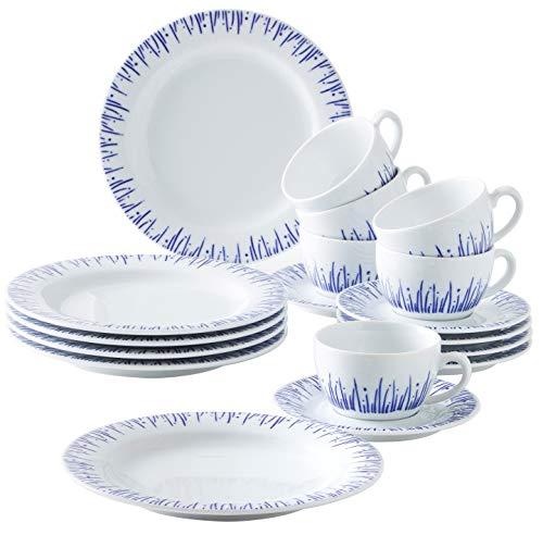 Kahla 570436O75006C Wir Machen Blau! Pronto Kaffeeservice 6 Person Porzellan 18 Teile Set Geschirr weißblau