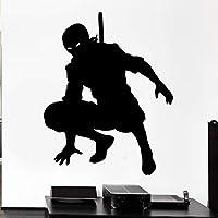 日本の侍ウォールデカール忍者シャドウウォリアーシルエットアート壁画ビニールステッカーキッドボーイベッドルームゲームルーム家の装飾