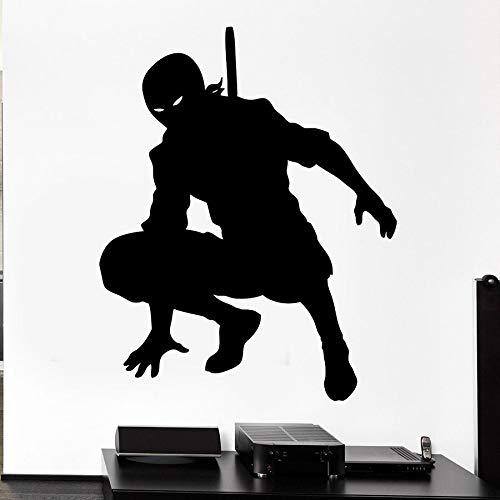 Samurái japonés calcomanía de pared Ninja Shadow Warrior silueta arte Mural vinilo pegatina chico chico dormitorio sala de juegos decoración del hogar