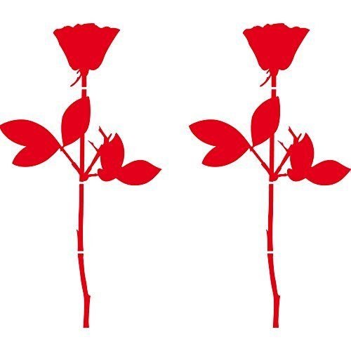 GreenIT Rose 20cm Auto Fenster Spiegel Aufkleber Tattoo die Cut Decals Vinyl Selbstklebende Deko Folie Depeche Mode (2 Stück rot)