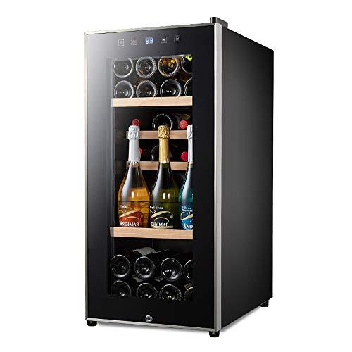 FREIHE Weinkühlschrank mit Glastür Weinkühler Weintemperierschrank 41 Weinflaschen 110 L 5-20°C 128B Innenraumbeleuchtung Touch-Bedienung Edelstahlrahmen schwarz, Black