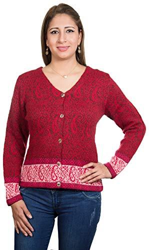 Chompas gebreide jas Persia | 100% alpaca-wol | trui dames rood blauw