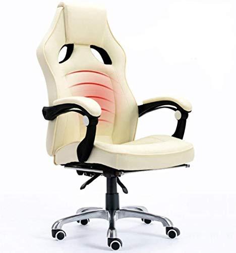 JYHJ Silla de ordenador reclinable para el hogar, silla de oficina de masaje, silla giratoria de levantamiento de cuero, diseño electrónico, rojo, beige, color: negro (color: beige)