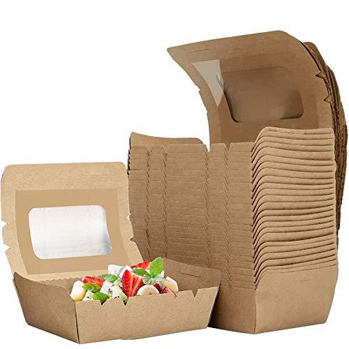 afdg Scatola per Biscotti, 25 Pezzi Imballaggi per Alimenti in Cartone, Scatola di Carta Kraft per Alimenti, Cartone per Insalata per Cibi Cotti, da Asporto, Imballaggi Alimentari (700 ml)