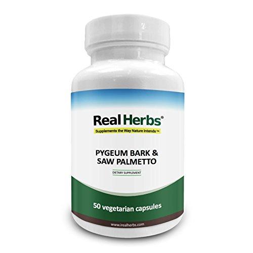 Real Herbs Pygeum Barkure Extracto 4: 1 puro 350 mg y Saw Palmetto Extracto 3: 1 puro 350 mg - 50 cápsulas vegetarianas