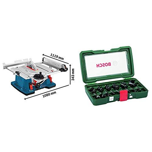 Bosch Professional 0601B30400 Sega a Banco, 2100 W, 3200 giri/minuto, Blu + Bosch 2607019469 Set Misto, 15 Frese HM, Gambo 8 mm