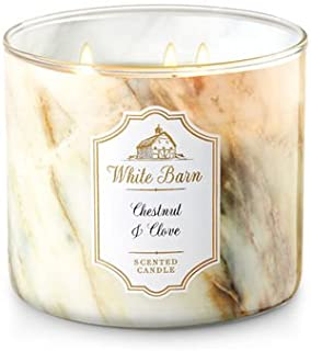 Bath and Body Works White Barn Scented Candle 3 Wick Chestnut and Clove 14.5 Ounce