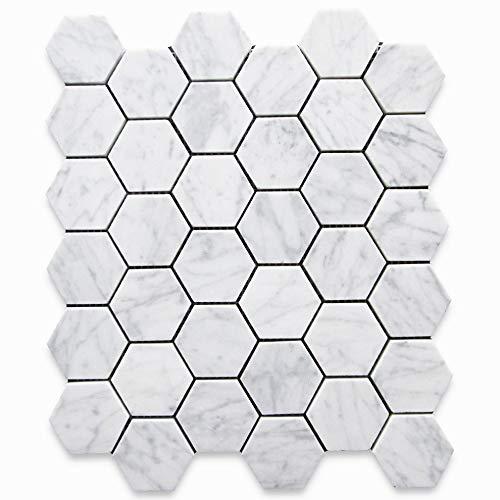 Carrara White Italian Carrera Marble Hexagon Mosaic Tile 2 inch Honed
