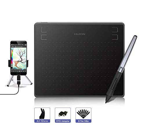 HUION HS64 Grafiktablett für Android, Windows, Mac, Grafiktablett mit 8192 Stufen Stiftdruck Batterieloser Stift, 4 ExpressKeys