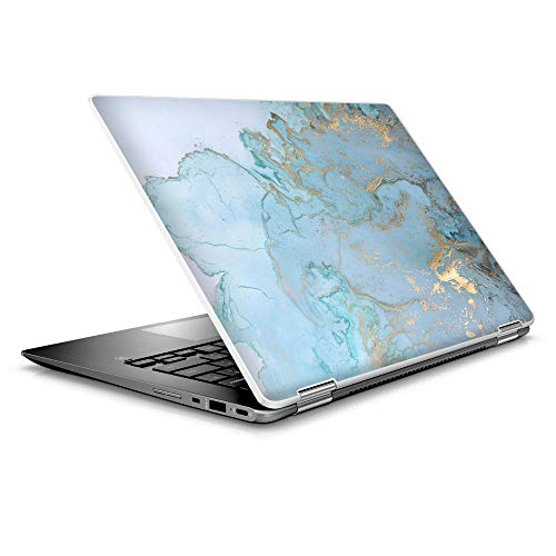 Laptop Notebook Skin Vinyl Sticker Cover Decal for 14' HP 2 in 1 Touchscreen Chromebook x360 - Teal Blue Gold White Marble Granite