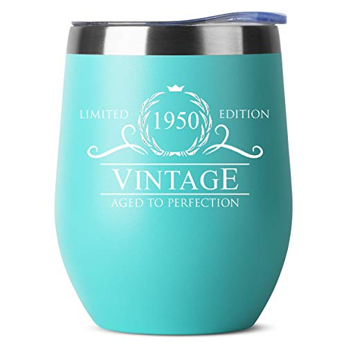 1950 70th Birthday Gifts for Women Men - 12 oz Mint Insulated Stainless Steel Tumbler w/Lid - Vintage 70 Year Old Best Gift Present Ideas for Him Her - Tumblers Party Decorations Supplies Presents