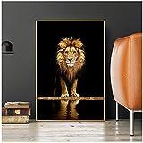 Carteles e impresiones de lienzo de León salvaje africano de animales negros y dorados, imágenes murales, decoración del hogar, decoración de la habitación