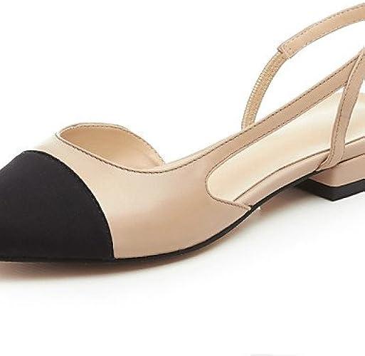 PDX femme Chaussures en cuir Talon Plat Sangle de cheville Bout Rond appartements Robe Noir ahommede