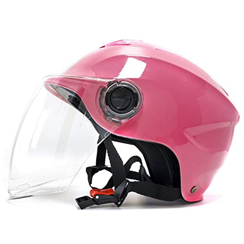 Motorbike Half Helmet Motorcycle Open Face Helmet DOT ECE Certified with Visor Sunshield Quick Release Buckle 4 Seasons Universal Crash Half Face Helmets for Men and Women A,One Size (55-59cm)