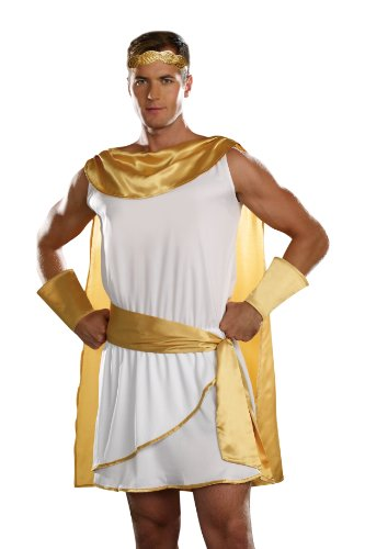 Dreamgirl Men's He's A God Costume, White, Large