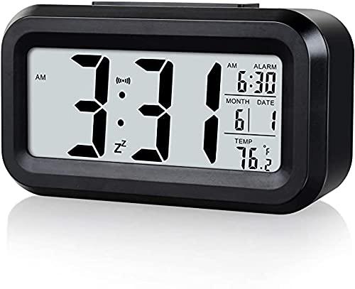 Alarm Clock for Bedroom-Night Light Battery Powered Digital Alarm Clock, 12-24 Hr Heavy Sleepers Small Digital Clock-(Black)