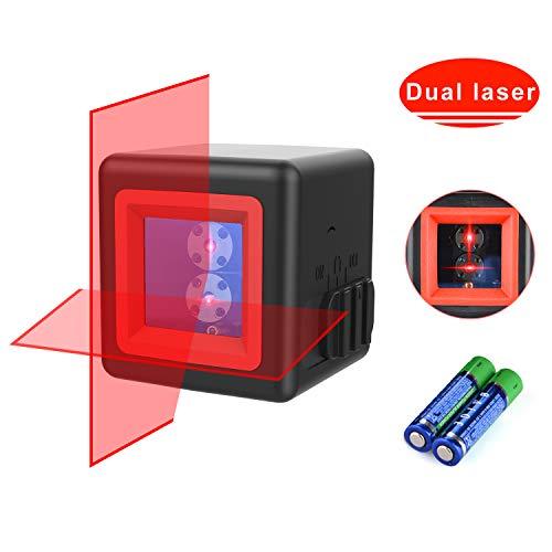 Kreuzlinienlaser,HANMATEK LV2 Laserquellen Kreuz-Linienlaser mit Selbstnivellierend Neigungsfunktion 1m Bruchsicher IP54 Staub Spritzwasserschutz 20m