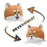 Reversible Dog Plushie Stuffed Animal Reversible Mood Plush Double-Sided Flip Show Your Mood! (Akita Dog)