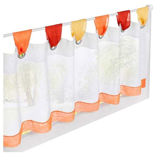 ESLIR Scheibengardine mit Schlaufen Vorhang Küche Bistrogardinen Transparent Stores Gardinen Kurzgardine Voile Orange HxB 45x90cm1 Stück