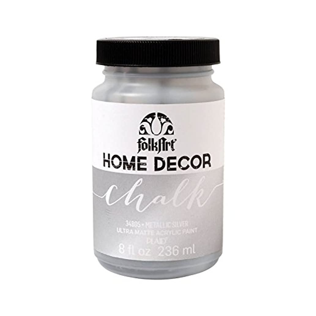 FolkArt 34805 Home Decor Chalk Furniture & Craft Paint in Assorted Colors, 8 Ounce, Metallic Silver