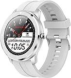 Reloj inteligente para hombre y mujer, esfera personalizada, pantalla táctil completa, IP68, resistente al agua, para Android IOS Fitness relojes (color gris)