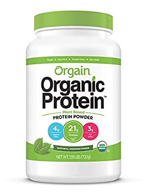 Orgain Organic Plant Based Protein Powder, Vegan, Low Net Carbs, Non Dairy, Gluten Free, Lactose Free, No Sugar Added, Soy Free, Kosher, Non-GMO, 1.59 Pound