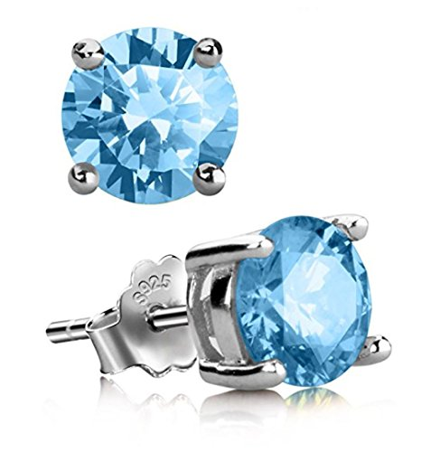 1 Pair Genuine Sterling Silver Birthstone Stud Earrings 4mm/0.25 Carat Small Tiny Created Diamond Gemstone Hypoallergenic Nickel Free Jewelry Birthday Women Girls Men Gift