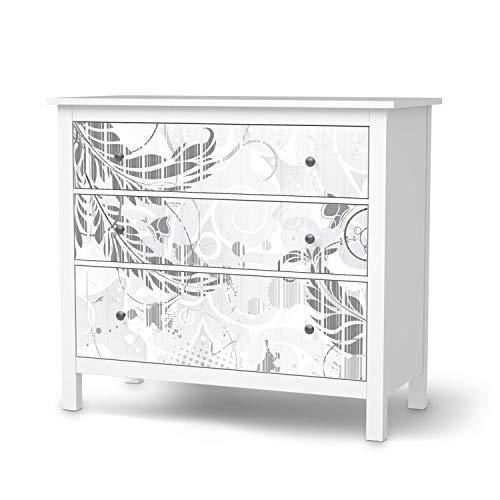creatisto Möbelfolie passend für IKEA Hemnes Kommode 3 Schubladen I Möbelsticker - Möbel-Tattoo Sticker Aufkleber I Deko Ideen Wohnung für Schlafzimmer, Wohnzimmer - Design: Florals Plain 2