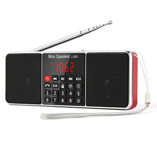 【PSE認証済】Gemean J-288 携帯ラジオポータブル ラジオ ワイド fm am ステレオ 高感度ラジオ bluetooth スピーカー ステレオサウンド、AUXジャック、スリープタイマー機能を備えたロングアンテナラジオ。アウトドアや災害時に対応。ラジオ局を自動的に保存します。