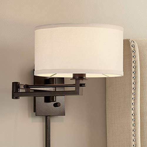 Aluno Modern Swing Arm Wall Lamp Bronze Plug-in Light Fixture Ivory Cotton Blend Drum Shade for Bedroom Bedside Living Room Reading - Possini Euro Design