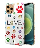 iPhone 12 / iPhone 12 Pro Case, Protective TPU Rubber Silicone Bumper Shockproof Grip Flexible Funny Floral Slim Pattern Geometric Cute Print Cover - Glitter Bling Gold Sparkly Animal Cute Dog Paws