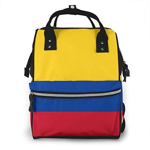 nbvncvbnbv Bolsa de pañales para bebés Bandera de Colombia Mochila de poliéster Multifunción Bolsas de pañales de viaje impermeables Capacidad Paquete de diseño de moda creativa Mochilas casuales