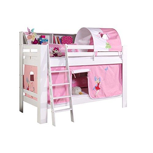 Relita Etagenbett Jan mit Bücherregal, Vorhang und Tunnel Buche massiv, weiß lackiert, Stoff rosa/weiß