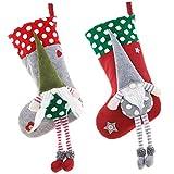 Paquete de 2 árboles de Navidad con patrón de gnomo, manualidades de decoración de medias, para cama, escaleras, chimenea, jardín de vacaciones, adornos de fiesta