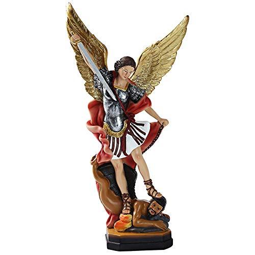 LXDDP Estatua Escultura San Miguel Arcángel Slaying Demon Figurine Adorno Resina Escritorio Oficina en casa Dormitorio Decoración Regalo