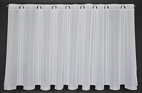 Scheibengardine in schlichter Optik 90 cm hoch | Breite der Gardine durch gekaufte Menge in 15,5 cm Schritten wählbar | Farbe: Weiß | Vorhang Küche Wohnzimmer