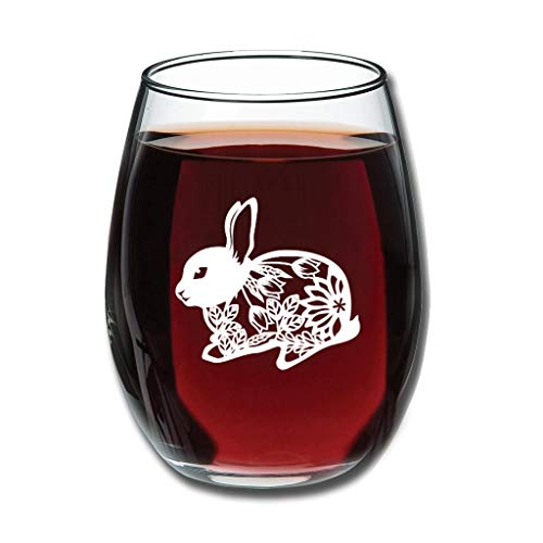 Bohohobo Libbey Weinglas ohne Stiel, Hase, Blume, 350 ml, Weinglas für Rot- und Weißwein, spülmaschinenfest, herzwärmendes Geschenk für lustige Weißweine